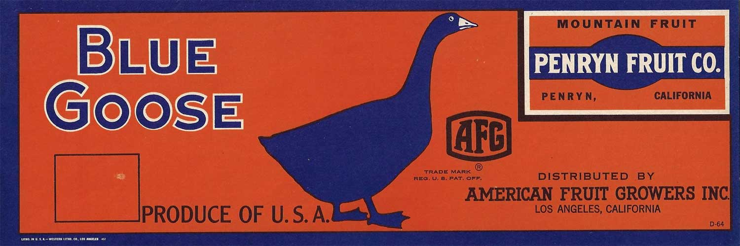Original vintage crate label , Circa 1940s, Blue Goose fruit labels