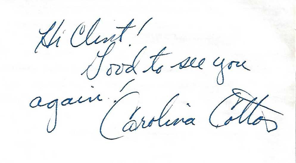 Carolina Cotton, 1925-1997, Westerns First Lady, Autographed Index Card
