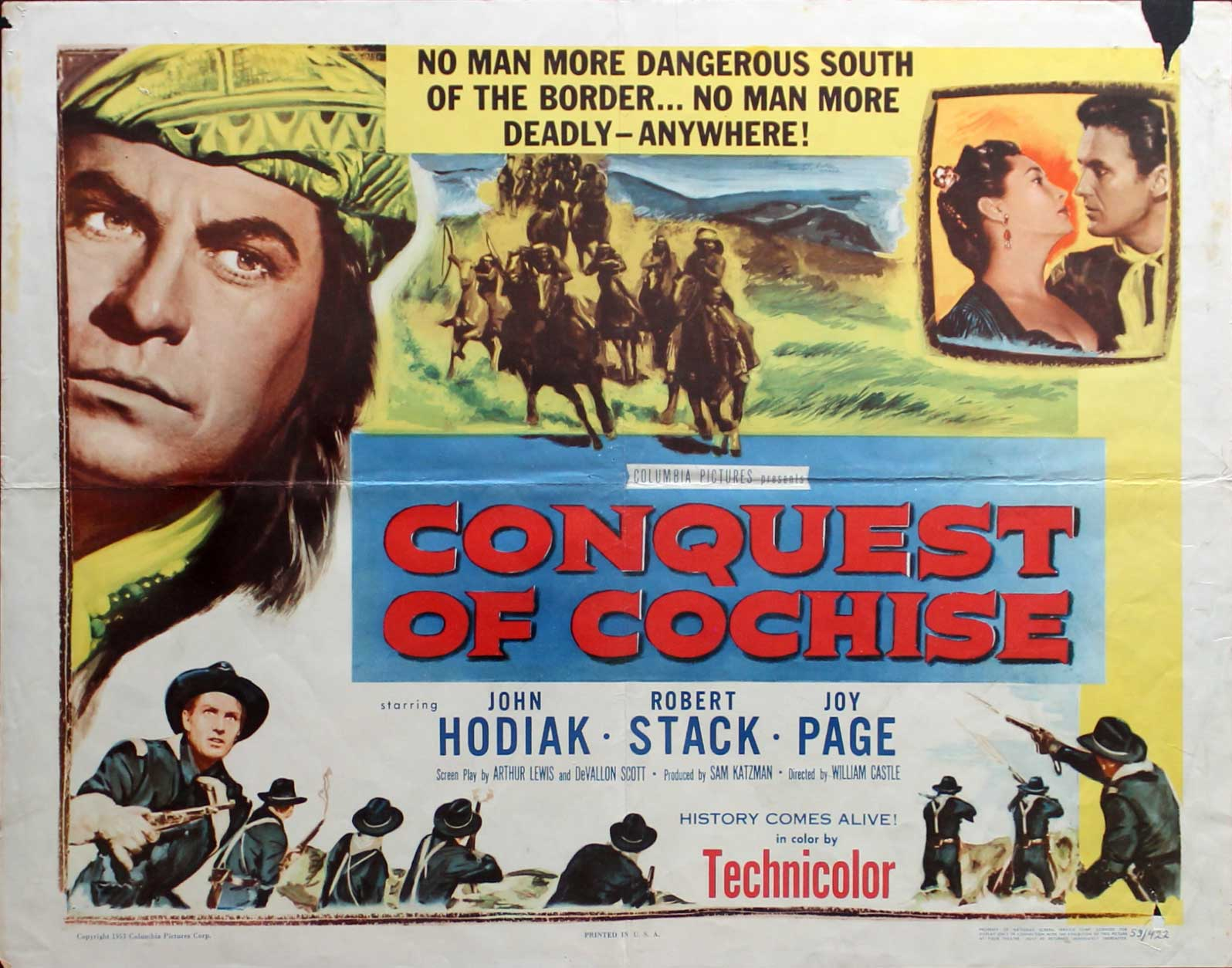 Conquest of Cochise, 1953, John Hodiak, Original Half Sheet (22x28)