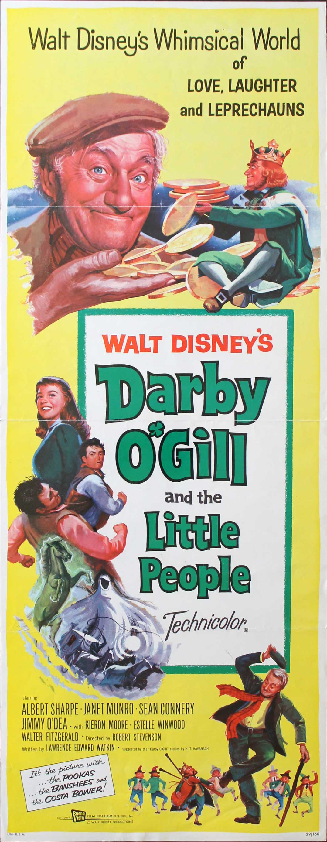 Darby O'Gill and the Little People, 1959, Albert Sharpe, Disney Live Action, Original Insert, (14x36)