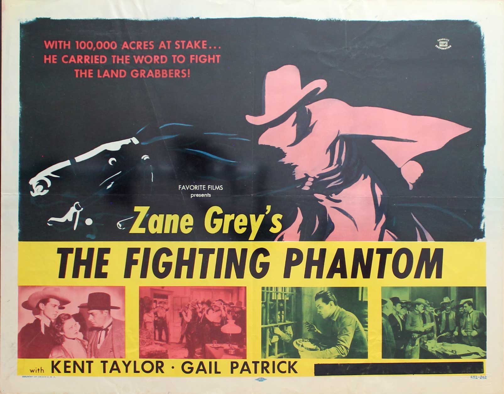 Fighting Phantom, R52, Kent Taylor, Re-Release Half Sheet, (22x28)