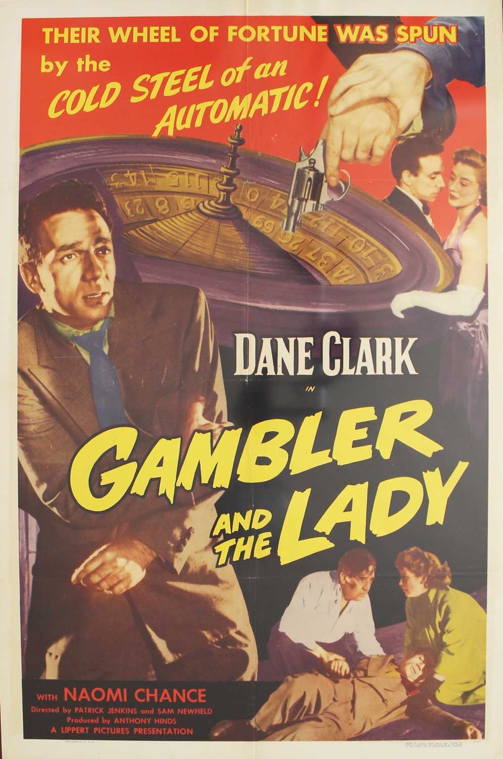 Gambler and the Lady, 1952,  Dane Clark, Original 1 Sheet (27x41)