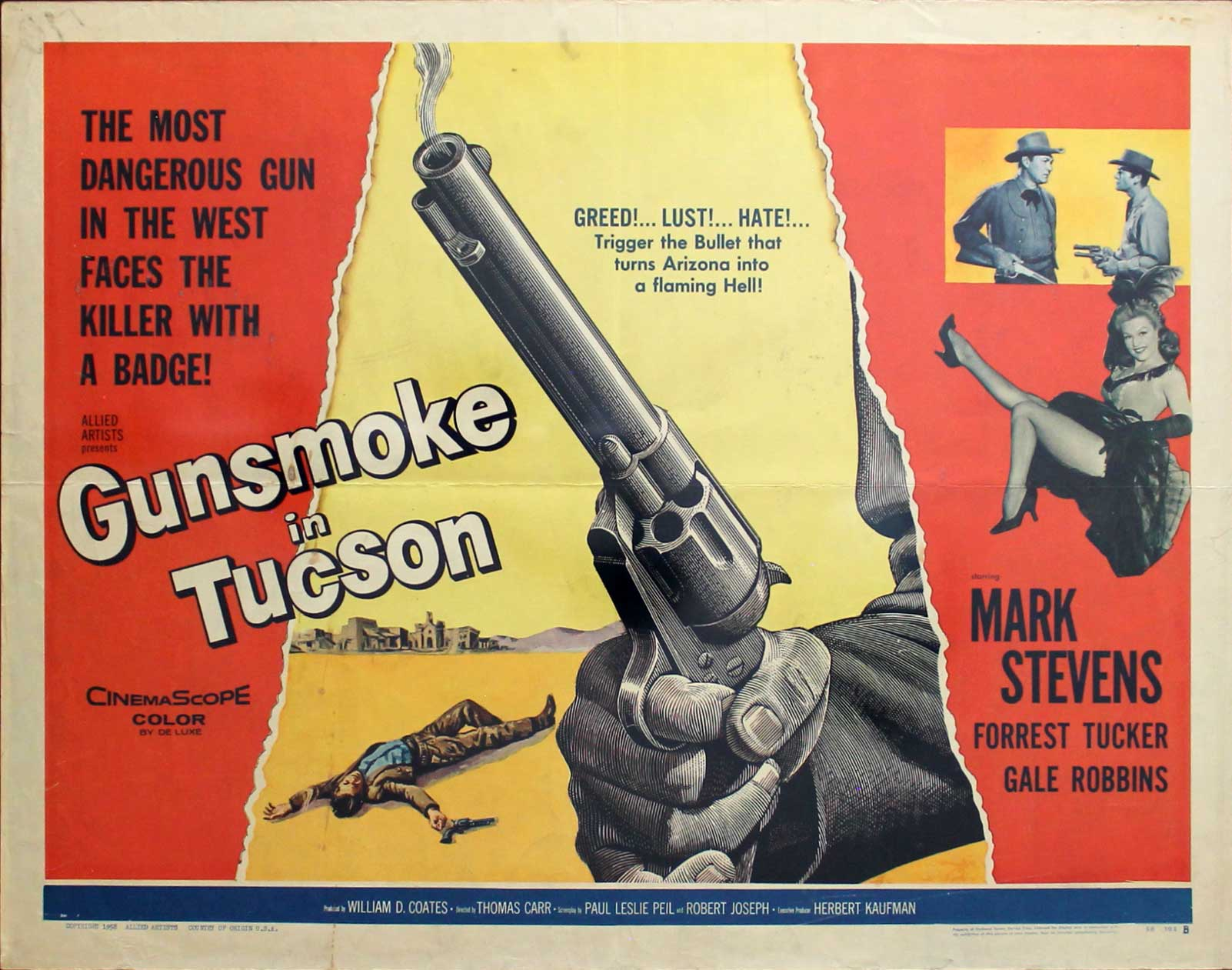 Gunsmoke in Tuscon, 1958, Mark Stevens,  Original Half Sheet, Style B (22x28)