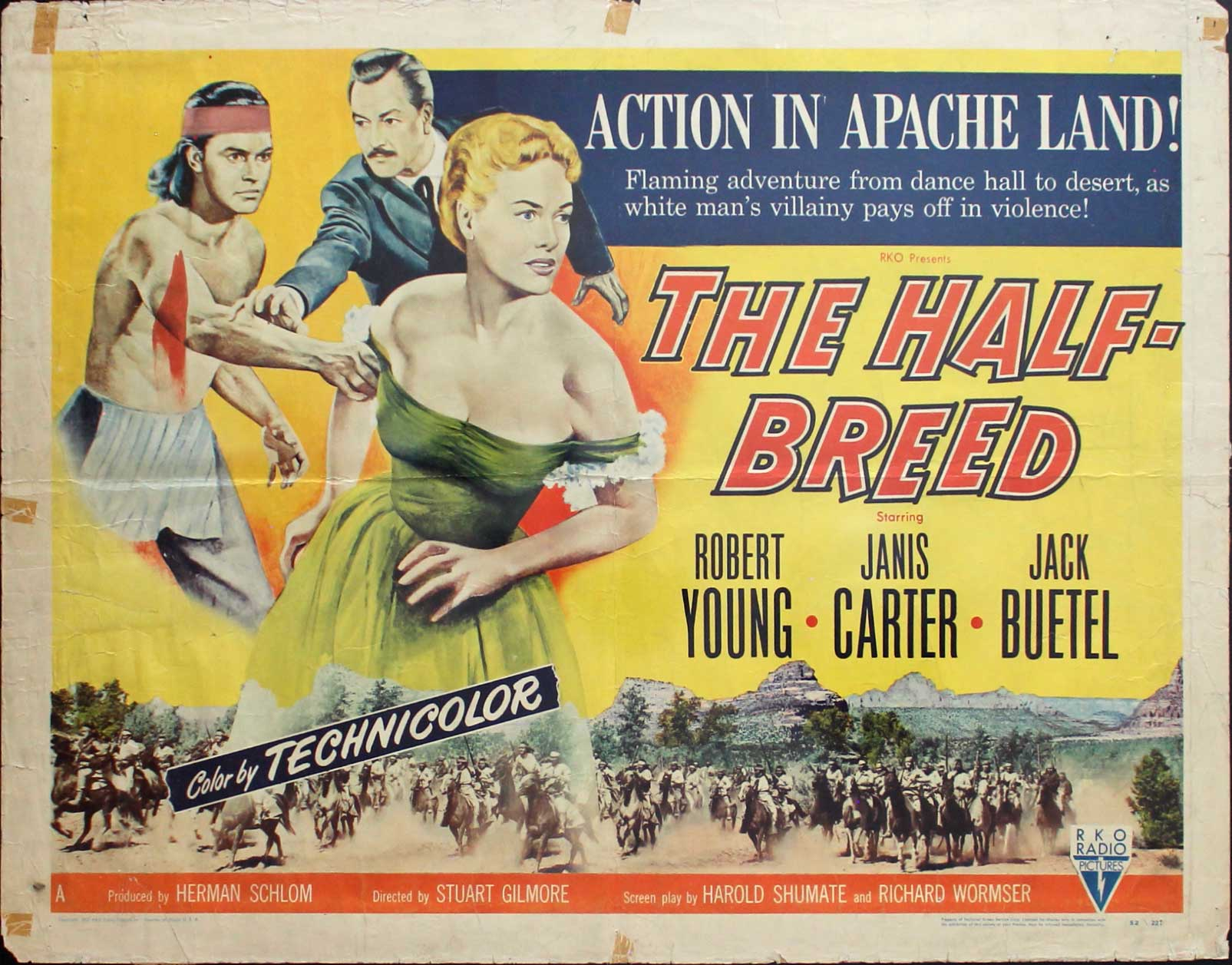 Half Breed, 1952, Robert Young, Original Half Sheet, Style A (22x28)