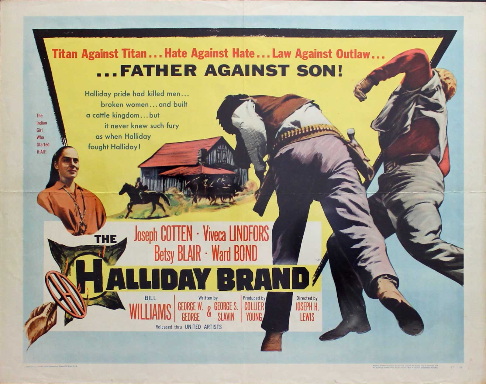 Halliday Brand, 1957, Joseph Cotten, Original Half Sheet, (22x28)