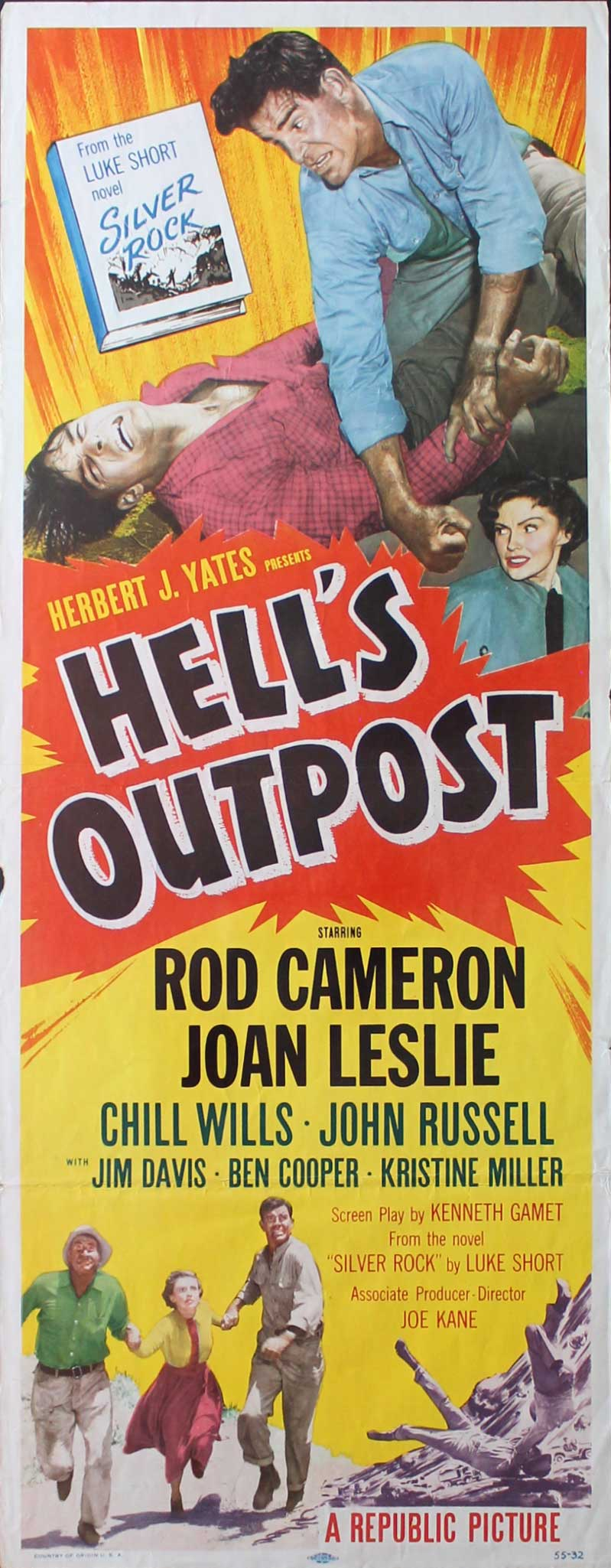 Hell's Outpost, 1955, Rod Cameron, Original Insert, (14x36