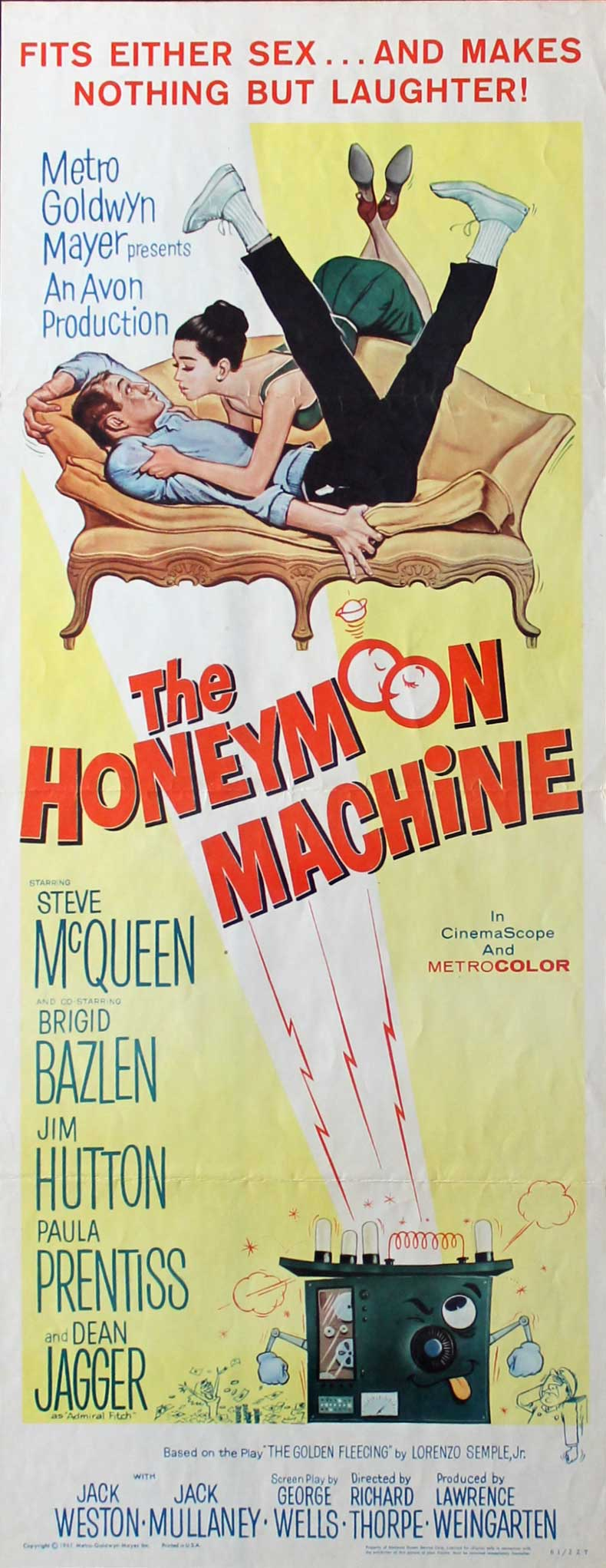 THE HONEYMOON MACHINE, 1961, Steve McQueen, Original Insert (14x36)