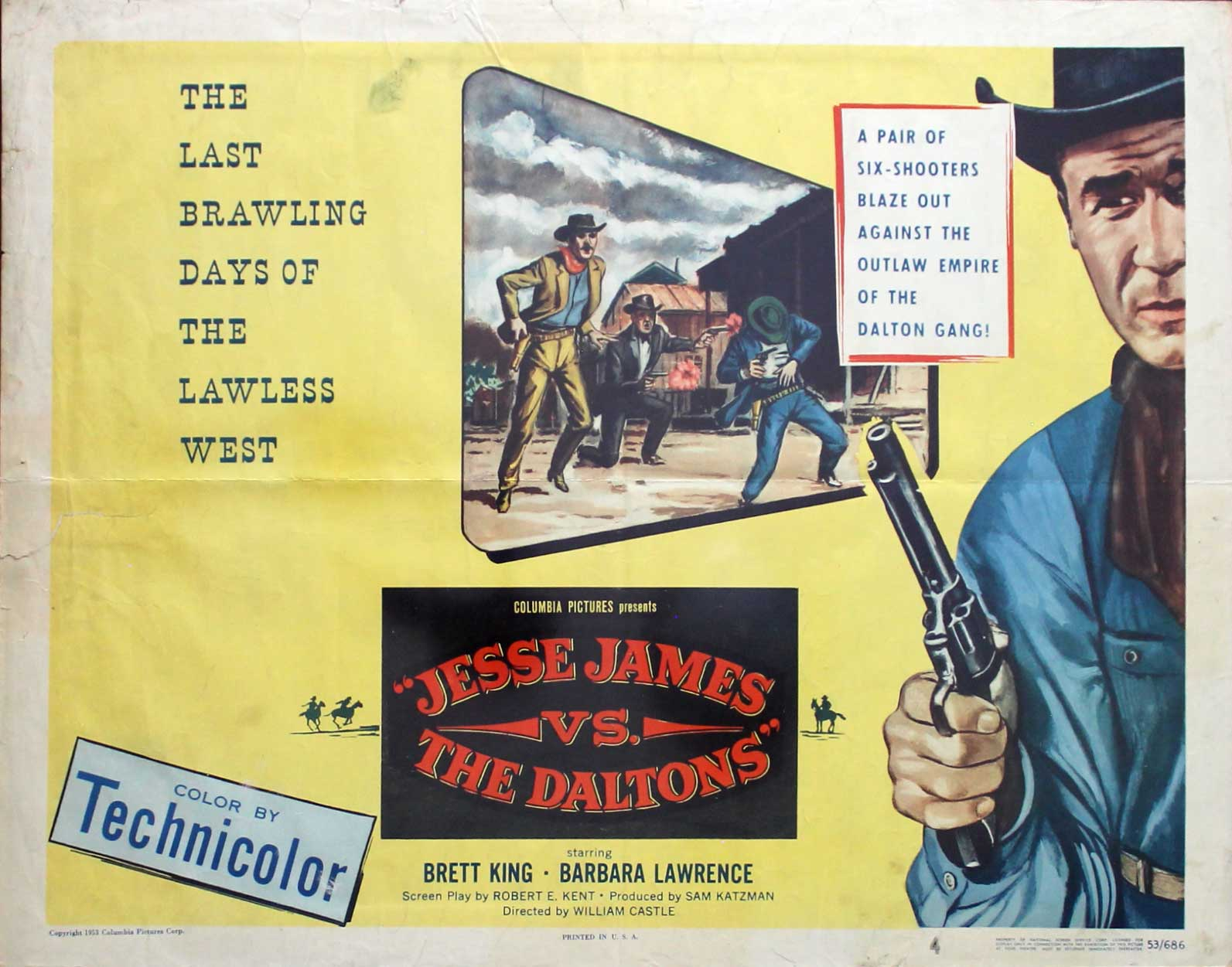 Jesse James vs. The Daltons, 1953, Brett King,  Original Half Sheet, (22x28)