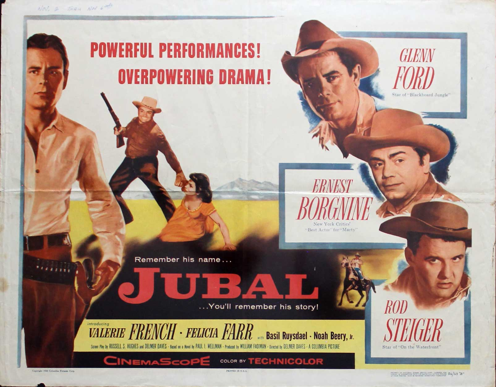Jubal, 1956, Glenn Ford, Original Half Sheet, Style B (22x28)