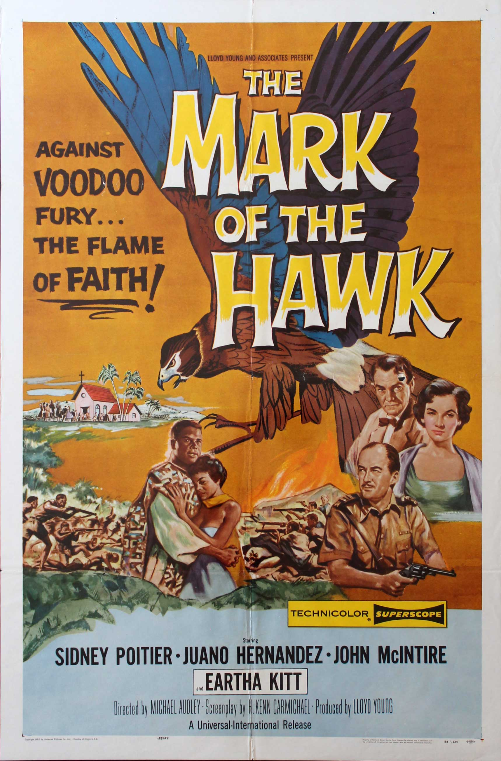 Mark of the Hawk, 1958, Eartha Kitt, Original 1 Sheet (27x41)