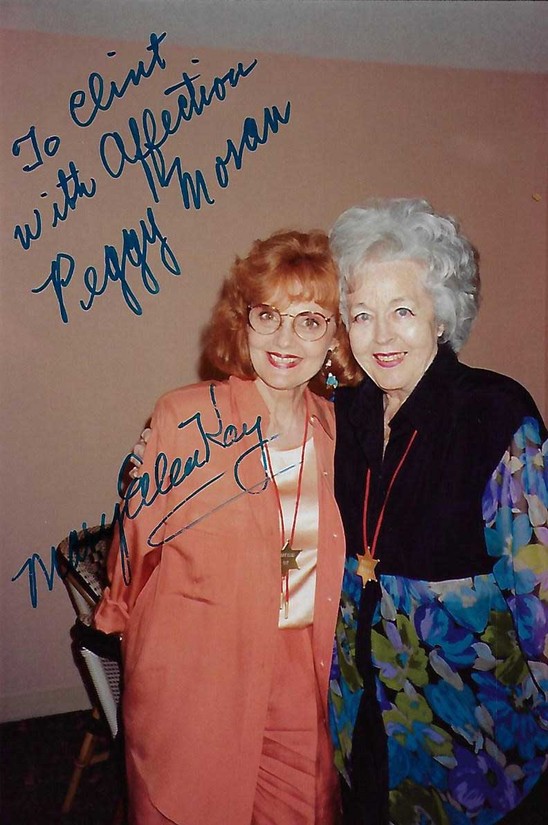 Peggy Moran & Mary Ellen Kay, Actresses, Autographed Candid Photo (4x6)