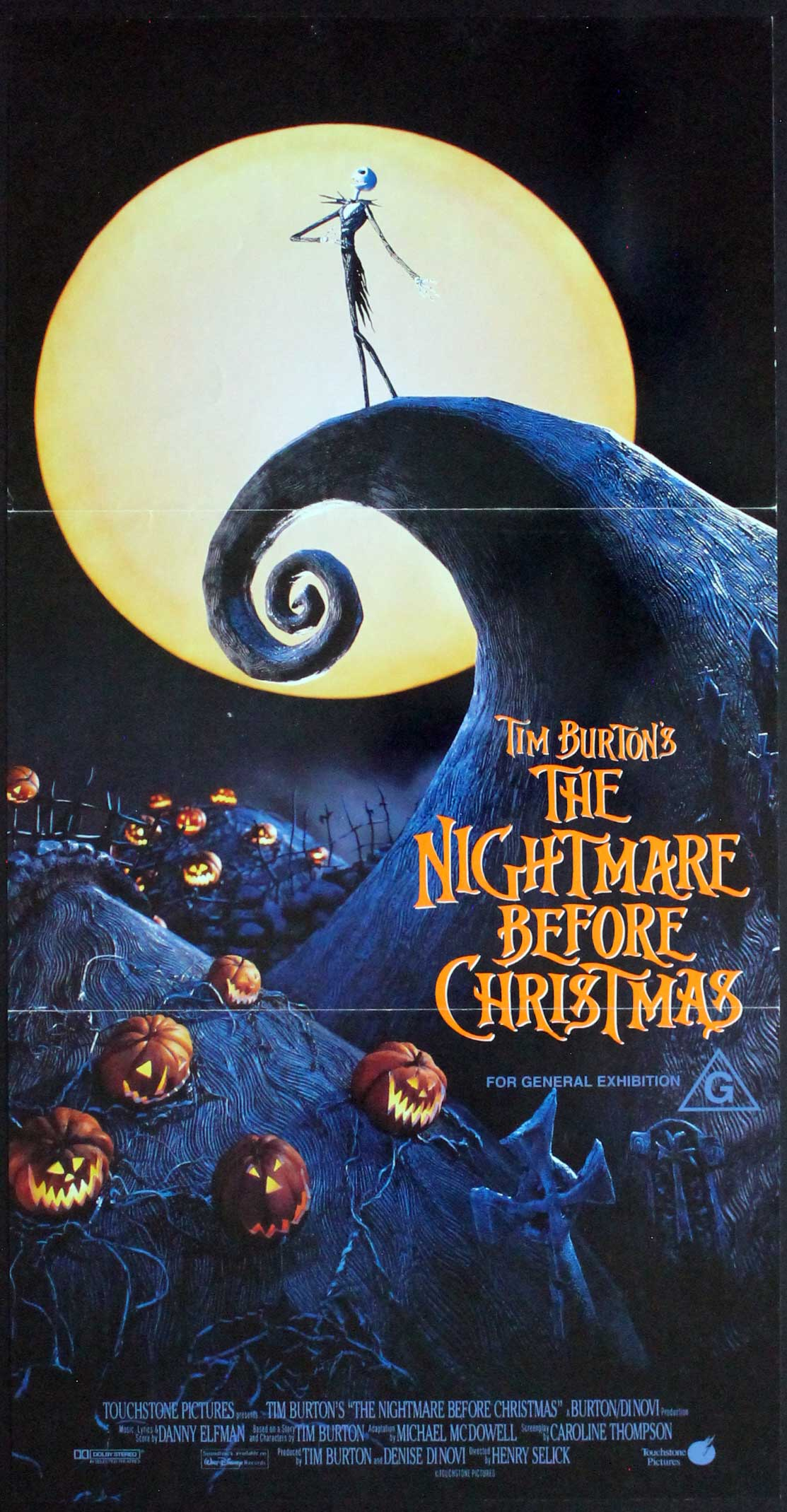Nightmare before Christmas, 1993, Tim Burton, Original Australian Daybill (13x25.5)