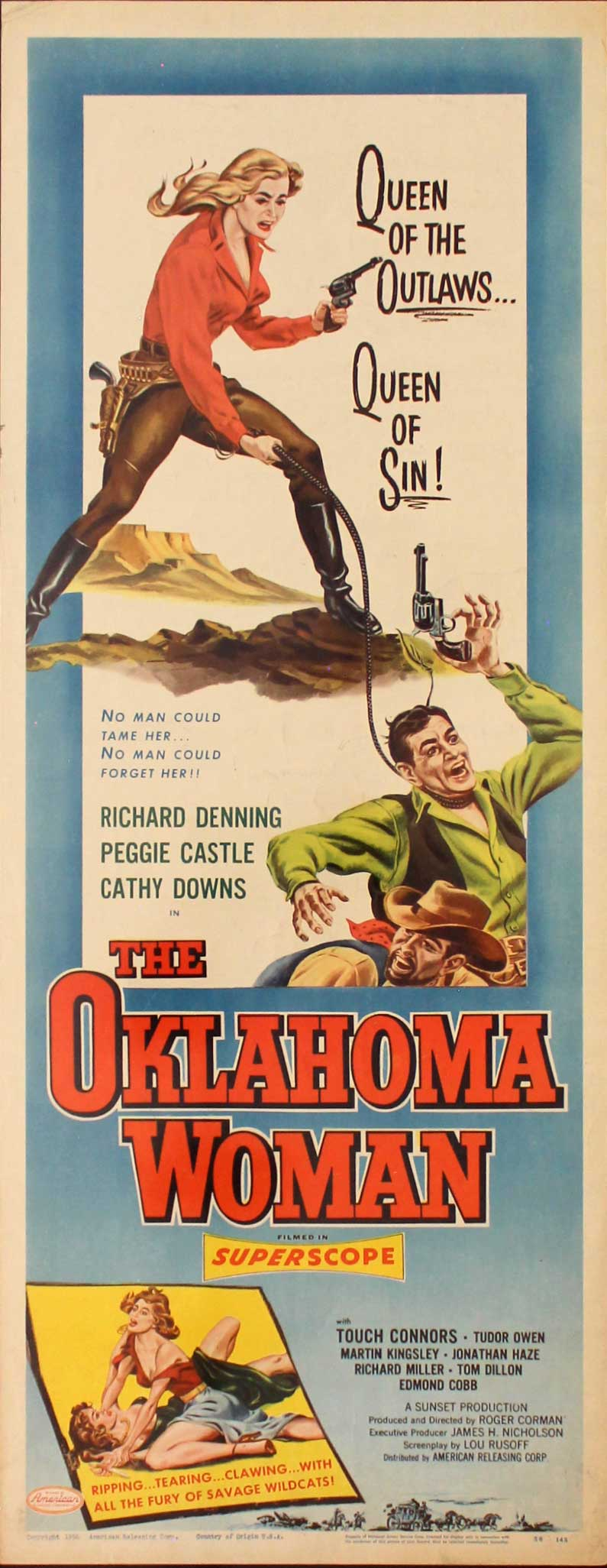 Oklahoma Woman, 1956, Peggy Castle, Original Insert, (14x36)