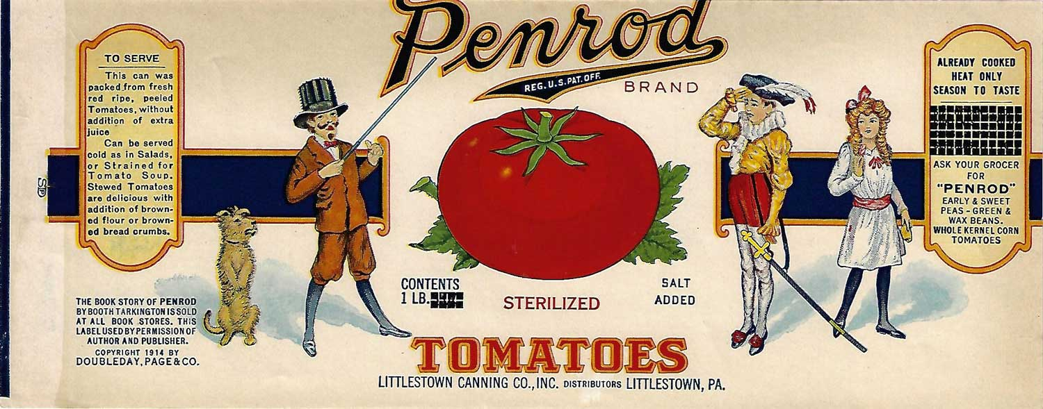 Penrod Brand, Original Sterilized Tomato Can Label, Circa 1930's, 10.50 x 4
