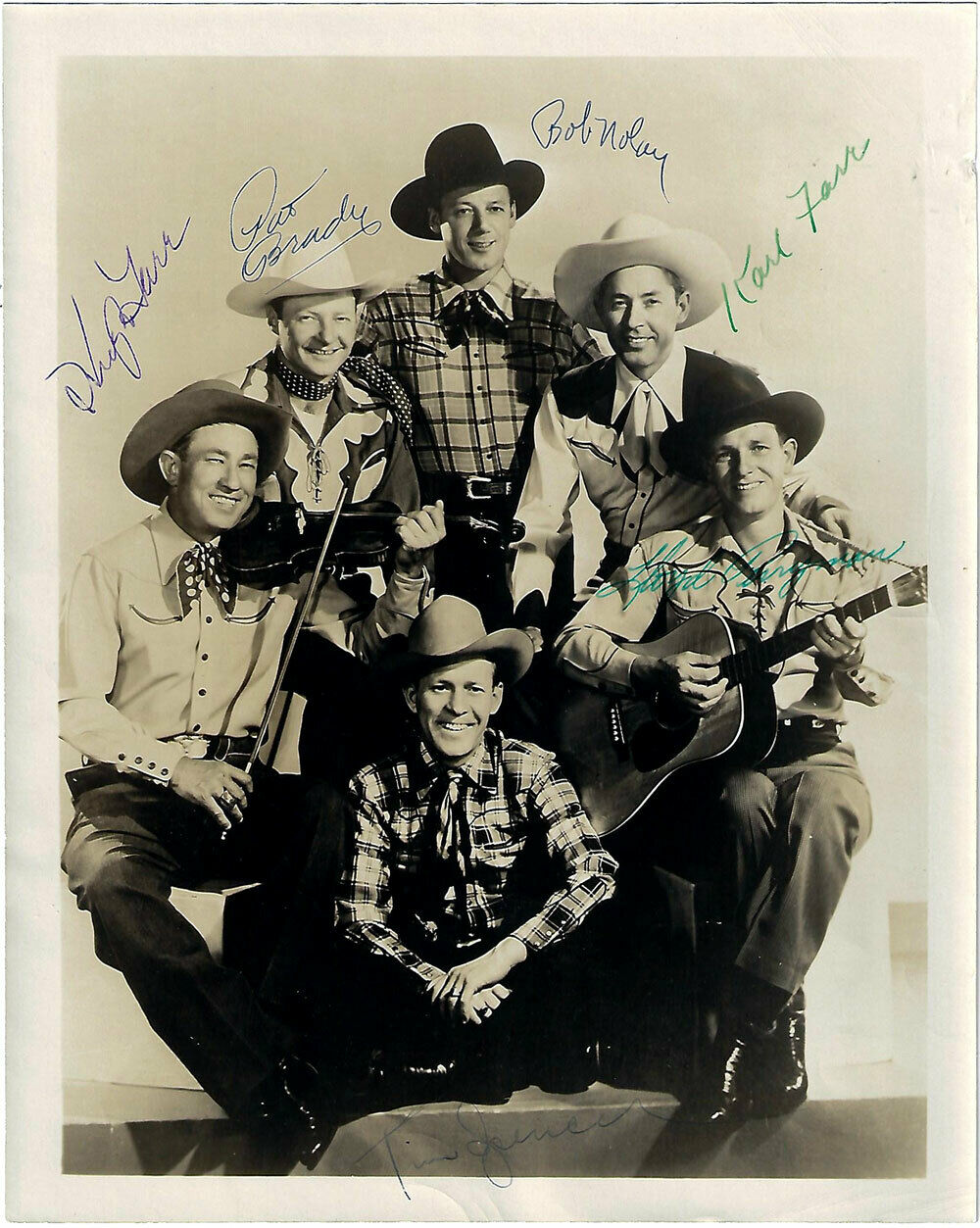 Sons of the Pioneers, 15th Anniversary 8x10 Autographed. Guaranteed Original!