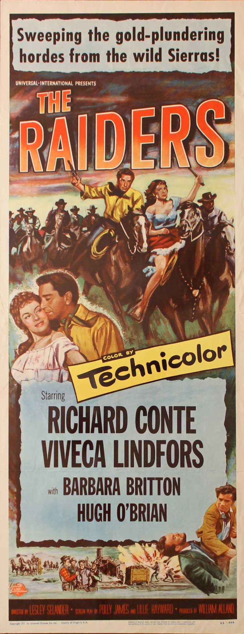 Raiders, 1952, Richard Conte, Original Insert, (14x36)
