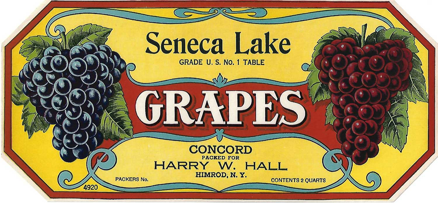 Seneca Lake Brand, Original Grape Crate Label, Circa 1920's, 10.50 x 4.75