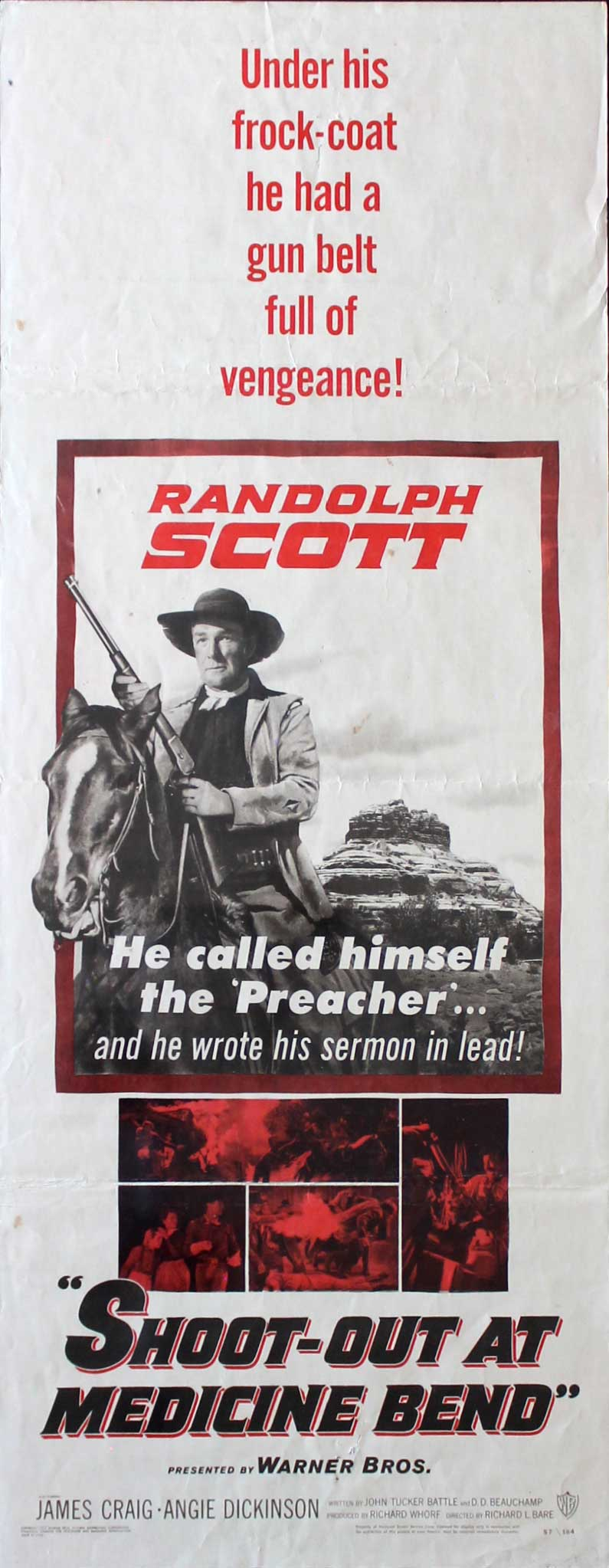 Shoot Out at Medicine Bend, 1957, Randolph Scott, Original Insert, (14x36)