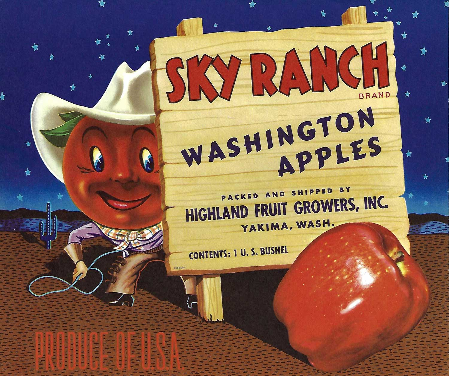 Sky Ranch Brand, Original Apple Crate Label, Circa 1950's, 10.5 x 8.75