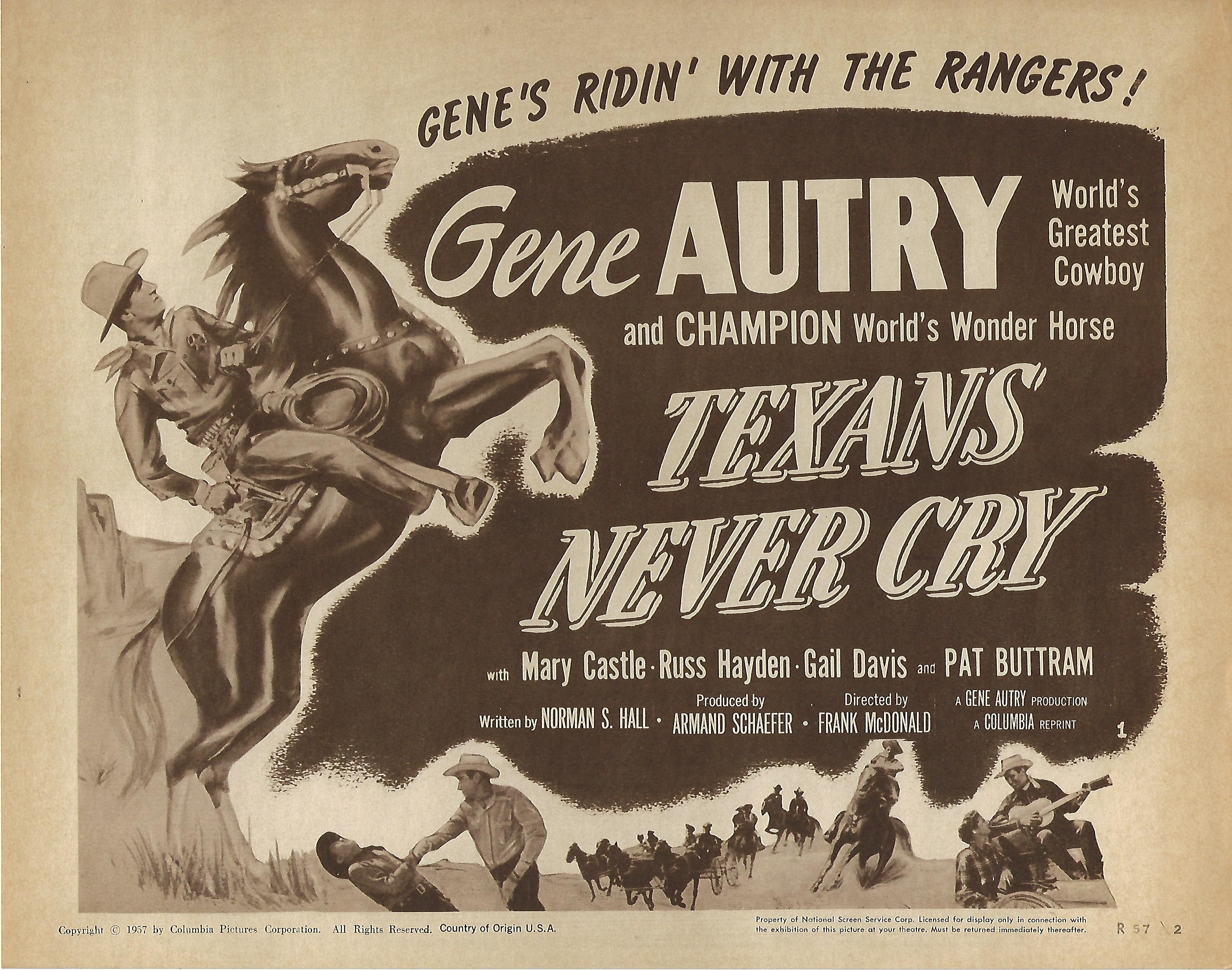 Texans Never Cry, Title Card , R57, 11x14