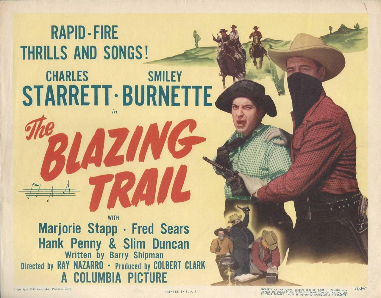 Blazing Trail 1949, Charles Starrett, Smiley Burnett, Durango Kid Title Card, 11x14