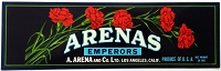 Arenas Emperors Original Vintage Grape Label Arena & Co. Los Angeles, California