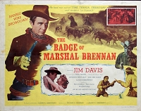 Badge of Marshall Brennen, 1957, Jim Davis, Original Half Sheet, Style A (22x28)