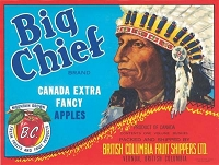 Big Chief Canadian Apples, Circa 1940's, Vernon, BC