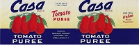 Casa Tomato Puree, Original Can Label, Circa 1960's, 13x4.25