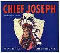 Chief Joseph Brand, Original Crate Label, Circa 1940's, 9.25x10.5