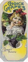 Choice Grapes,  Original Crate Label , Circa 1920's, Stone Lithograph, 10.5x5