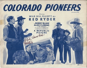 Monte Hale, Autographed Colorado Pioneers, R49, Title Card 11x14