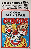 Original Cole Bros. All Star Poster, Circa 1980's, 22x14