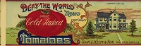 Defy the World Brand Tomatoes, Original Can Label, Circa 1900's,  14x4.5