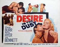 Desire in the Dust, 1960, Raymond Burr , Original Half Sheet, (22x28)