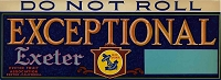 Exeptional Exeter Brand, Original Crate Label, Circa 1950's, 13x4.75