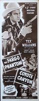 Fargo Phantom/Coyote Canyon, 1950, Tex Williams, Original Insert, (14x36