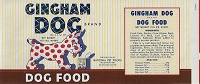 Gingham Dog Food Brand, Original Can Label, Circa 1940's, 9x4