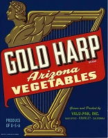 Gold Harp Brand, Original Crate Label, Circa 1950's, 7x9