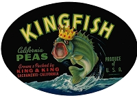 Kingfish Brand, Original Crate Label, Circa 1940's, 8x5.5