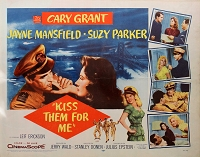 Kiss them for Me, 1957, Jane Mansfield, Original Half Sheet, (22x28)