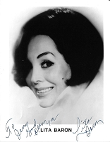 Lita Baron, 1923-2015, Actress, Singer, Dancer,  Autographed Photo (8x10)