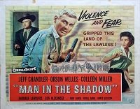 Man in the Shadow, 1958, Orson Welles, Original Half Sheet, (22x28)