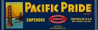 Pacific Pride Brand, Original Crate Label, Circa 1950's, 13.00x4.0