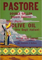 Pastore Brand, Original Olive Oil Can Label, Circa 1940's, 10 x 7