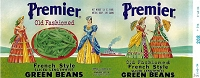 Premier Brand, Original Green Bean Can Label, Circa 1950's, 10.25 x 4