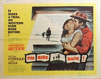 Ride Back, 1957, Anthony Quinn, Original Half Sheet, Style A (22x28)