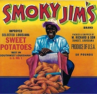 Smoky Jim's Brand, Original Sweet Potatoes Crate Label, Circa 1940's, 9.25 x 9.00