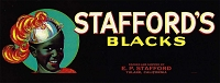 Stafford's Blacks Brand, Original Crate Label, Circa 1950's, 13.00 x 5.00