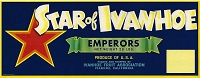 Star of Ivanhoe Brand, Original Crate Label, Circa 1950's, 13.00 x 5.00